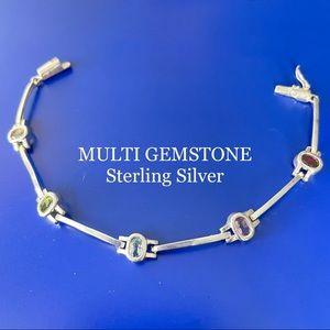 MULTI GEMSTONE STERLING SILVER LINE BRACELET 925